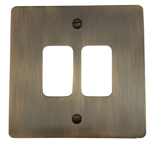 G&H FAB92 Flat Plate Antique Bronze 2 Gang MK Compatible Grid Plate